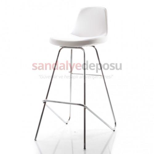 Gabriel Krom Sabit Ayaklı Bar Sandalyesi (Beyaz Deri)