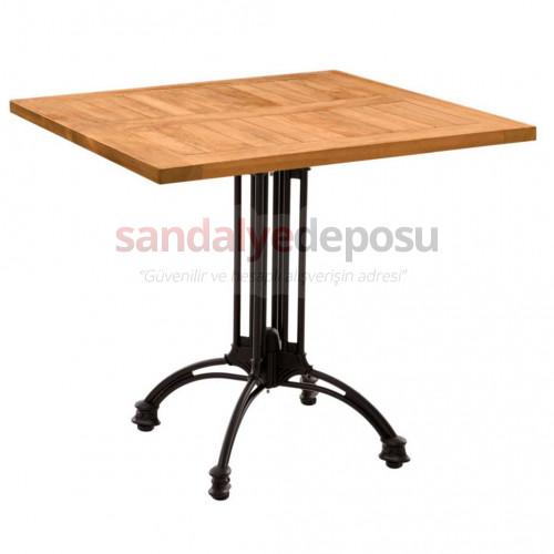 Teak kafeterya masası döküm ayaklı 70x70