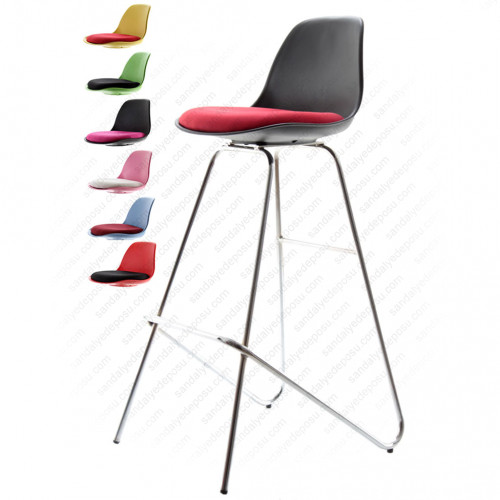 Swella Sabit krom Ayaklı Bar Sandalyesi Siyah kırmızı