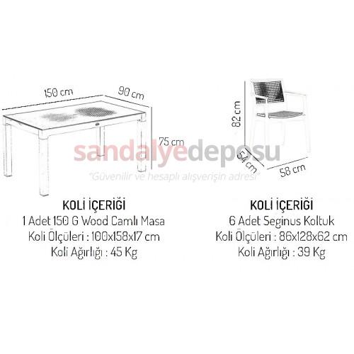 Mavenna Masa sandalye takımı Kahve 150x90