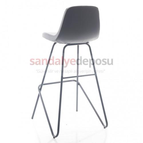 Gabriel Sabit Ayaklı Bar Sandalyesi (Deri Koyu Gri)