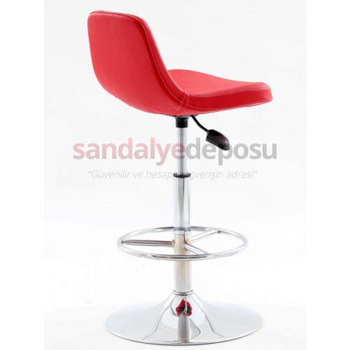 Gabriel Krom Yassı Ayaklı Bar Sandalyesi Kırmızı