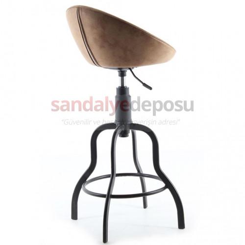 Gloria Boyalı Sosis Ayaklı Bar Sandalyesi Kumaş Kahve