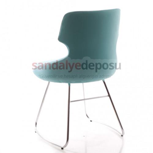 Simge Krom Transmisyon Ayaklı Sandalye (Deri 11)