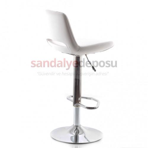 Rasko Bar Sandalyesi (Deri Beyaz)