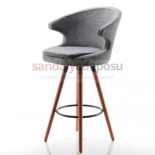 Simge 2 Ahşap Ayaklı Bar Sandalyesi (Patara 17)