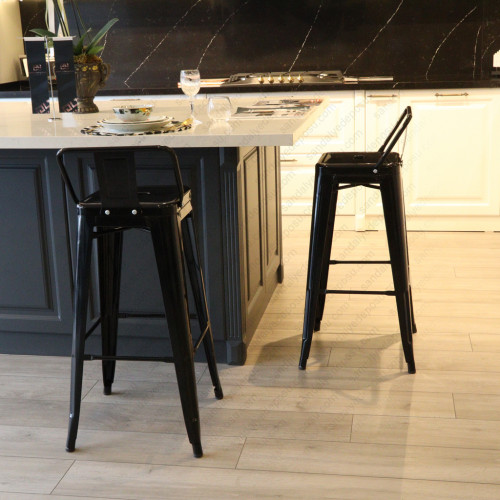 Sırtlı Tolix Bar Sandalyesi Siyah (Sınırlı adet için )
