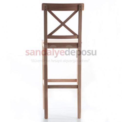 Maya Çapraz Sırtlı Ahşap Bar Sandalyesi Ham
