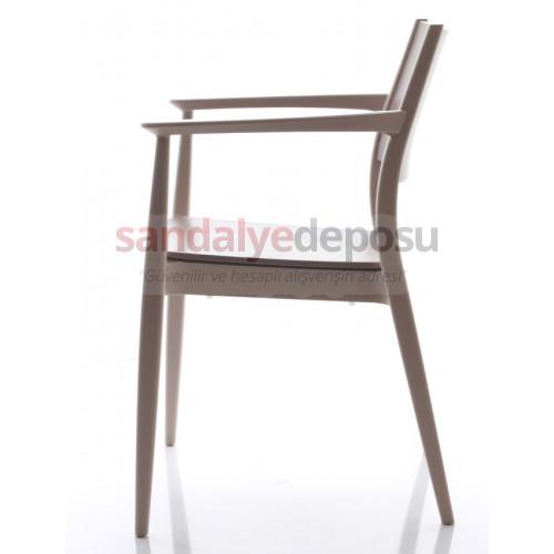 Pento PP Sandalye Kollu Açık Kahve
