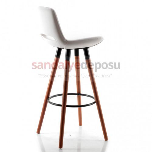 Rasko Sabit Ayaklı Bar Sandalyesi (Deri Beyaz)
