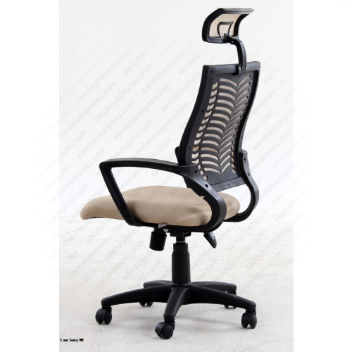 White başlıklı çalışma koltuğu siyah Bej