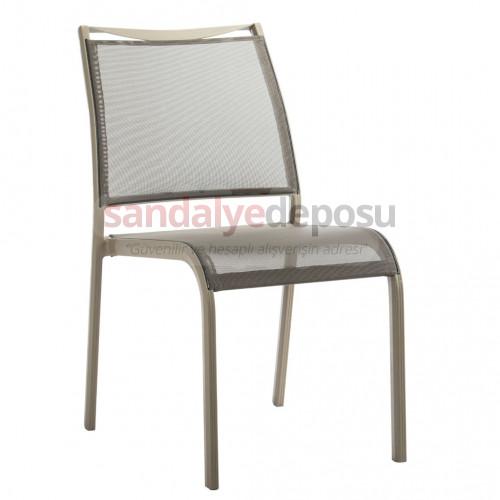 Geyve kolsuz fileli alüminyum sandalye kahve