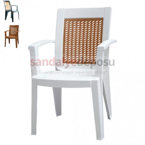 Maldiv Kollu Plastik Sandalye Beyaz