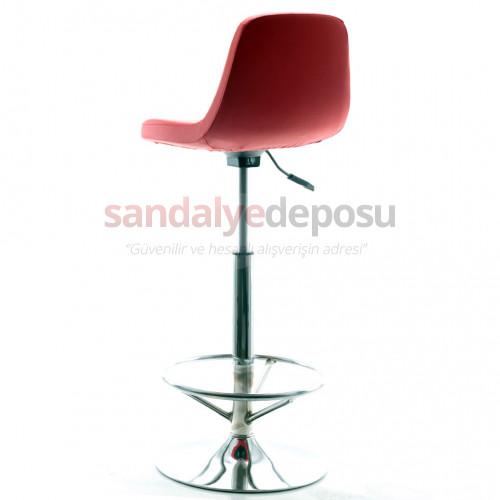 Gabriel Krom Tepsi Ayaklı Bar Sandalyesi (Deri 16)