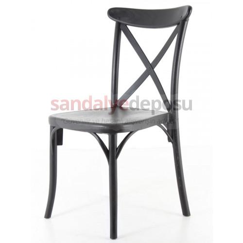 Çapraz Sırtlı PP Sandalye Siyah