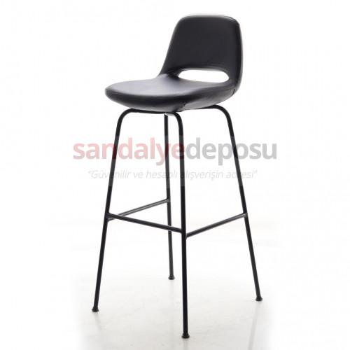 Rasko Siyah Metal Ayaklı Bar Sandalyesi ( Deri Siyah )