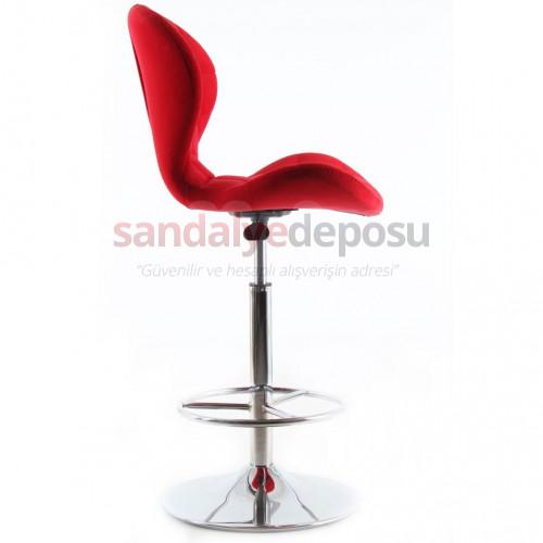 Bitcoin Çemberli Bar Sandalyesi Kırmızı