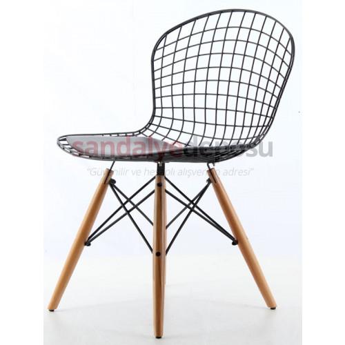Emeco Ahşap Ayaklı Metal Sandalye Siyah