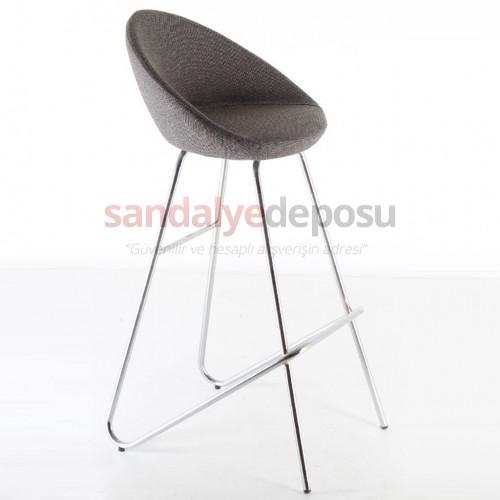 Gloria Krom Eyfel Ayaklı Bar Sandalyesi Kumaş Gri
