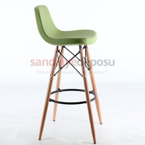İmera Ahşap Ayaklı Bar Sandalyesi Yeşil