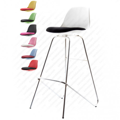 Swella Sabit krom Ayaklı Bar Sandalyesi Beyaz siyah