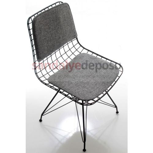 Aymes Metal Sandalye Döşemeli Gri