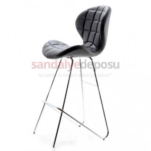 Bitcoin Eyfel Krom Ayaklı Bar Sandalyesi siyah deri