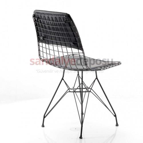 Taylor Metal Sandalye Siyah Sırt Minderli