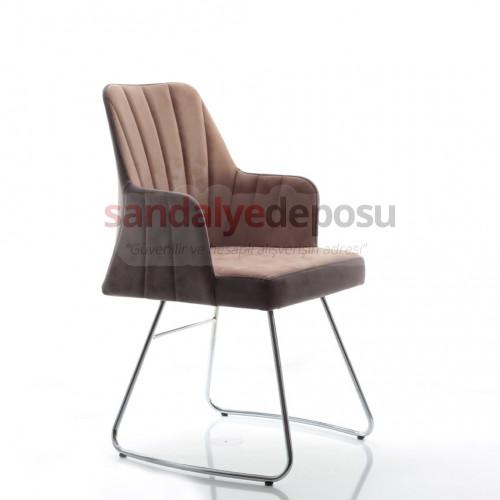 Florya krom u metal ayaklı sandalye