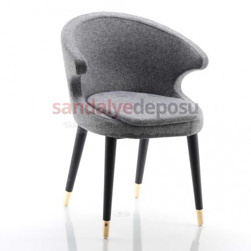 Simge 2 Siyah Ahşap Ayaklı Prinç Uclu Sandalye (Patara 17)