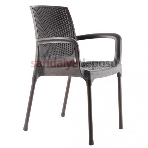 Manyas Kollu PP Alüminyum Ayaklı Sandalye Kahve