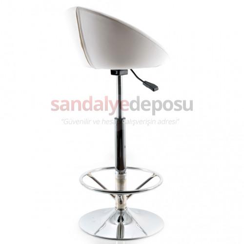 Gloria Çemberli Bar Sandalyesi (Beyaz Deri)