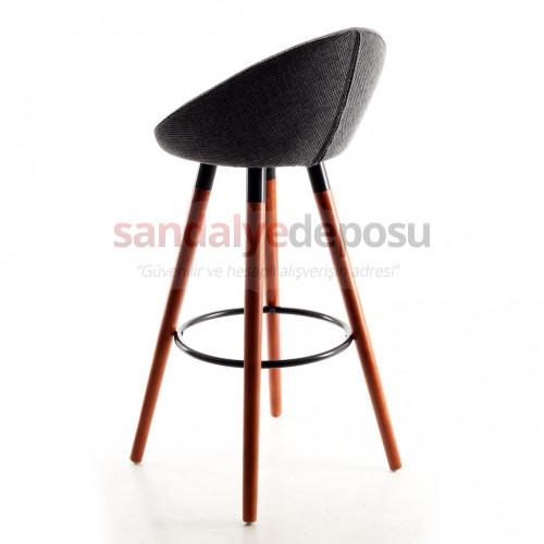 Gloria Ceviz Ahşap Ayaklı Bar Sandalyesi Keten (Lara 307 )