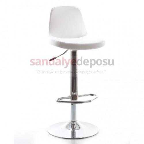 Gabriel Bar Sandalyesi (Beyaz Deri)