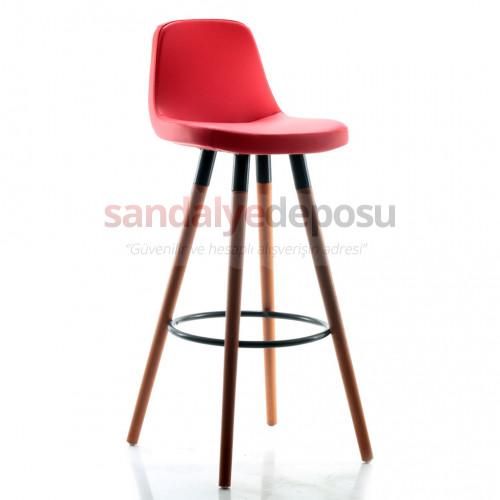 Gabriel Ceviz Ahşap Ayaklı Bar Sandalyesi (Deri 16)
