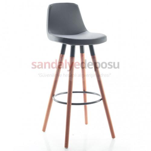 Gabriel Ceviz Ahşap Ayaklı Bar Sandalyesi (Deri Koyu Gri)