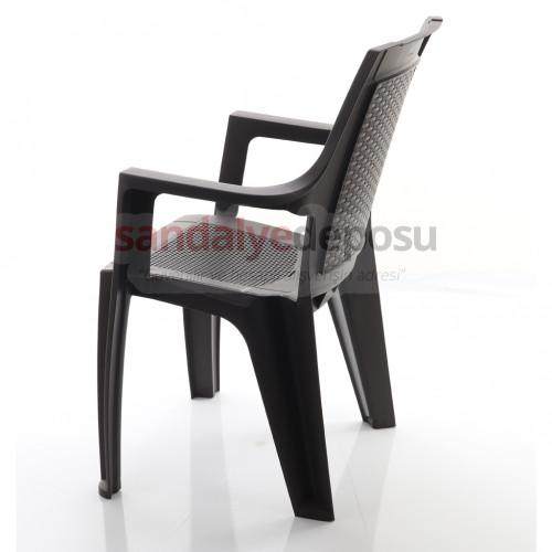 Foça Kollu Plastik Sandalye Kahve