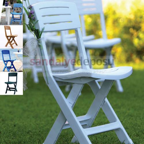 Katlanır plastik sandalye beyaz