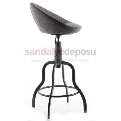 Gloria Boyalı Sosis Ayaklı Bar Sandalyesi Kumaş Gri